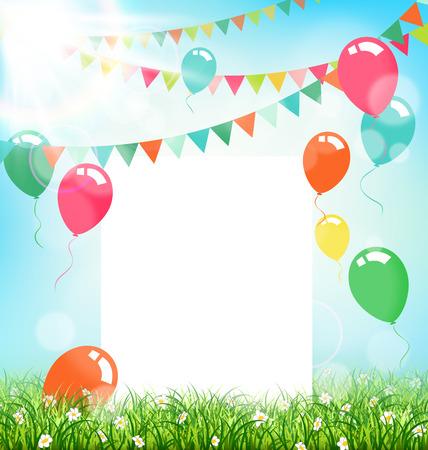 Fundo da celebração com bolas buntings quadro de ar e luz solar grama no fundo do céu