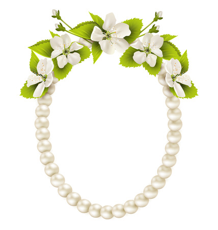 necklet: Pearl oval like frame with cherry flowers isolated on white background