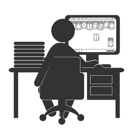kartenspiel: Flache Computer-Symbol mit Kartenspiel auf wei�em Hintergrund
