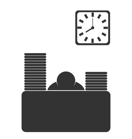 finance director: Business office fizzle out worker flat icon isolated on white background