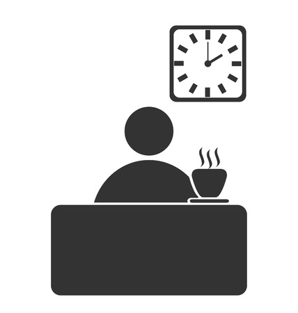 finance director: Business office coffee break flat icon isolated on white background