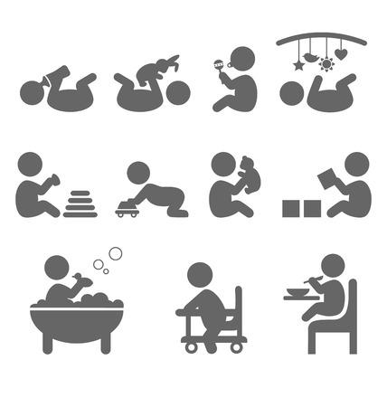 hijos: Iconos planos de acción del bebé aislado en el fondo blanco Vectores