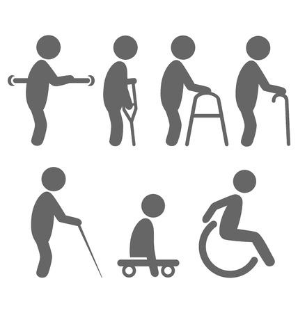 equipos medicos: Gente Discapacidad pictogramas iconos planos aislados sobre fondo blanco Vectores
