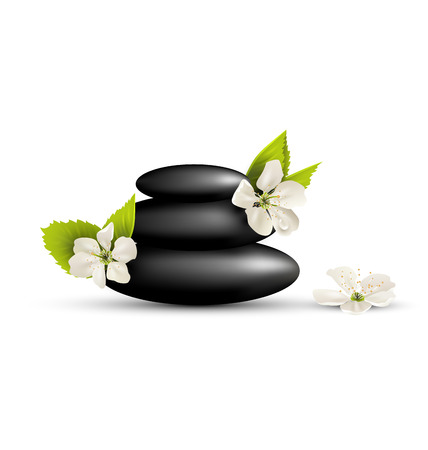 Stack of spa stones with cherry white flowers isolated on white background