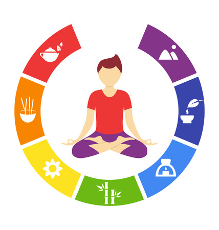 Yoga lifestyle circle with man isolated on white background Vector