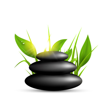 spring balance: Stack of spa stones with grass and sunshine isolated on white background