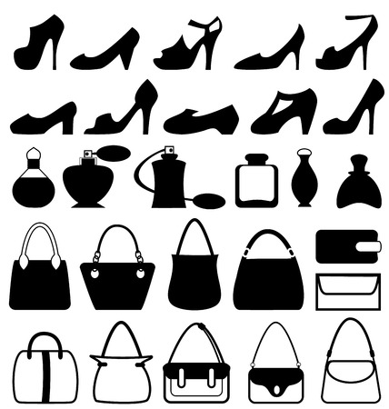 Set of flat woman accessories isolated on white background photo