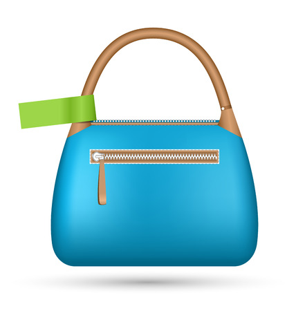 Blue woman spring bag with green sticker isolated on white background photo