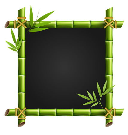 bamboo frame: Green bamboo frame isolated on white background Stock Photo