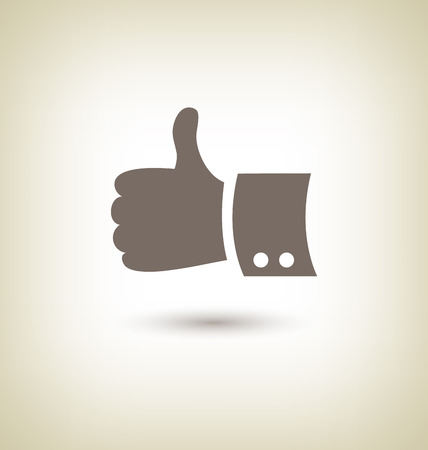 endorsement: Thumb up gesture. Good icon hand on beige background