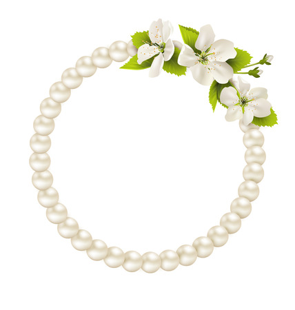 necklet: Pearl circle like frame with cherry flowers isolated on white background