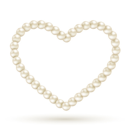 necklet: Pearl heart like frame isolated on white background Stock Photo