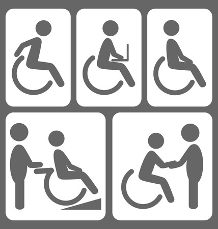 helpmate: Disability people pictograms flat icons isolated on white background