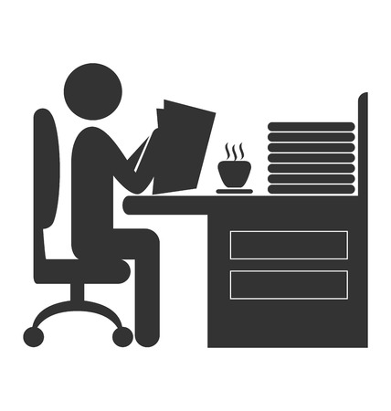 corporative: Flat office read newspaper icon isolated on white background