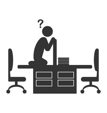 disappeared: Flat office icon with disappeared worker isolated on white background
