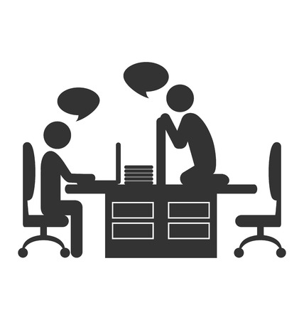 newbie: Flat office icon with dialogue between workers on coffee break isolated on white background Stock Photo