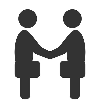 Greeting business handshake situation icon isolated on white background Stock Photo