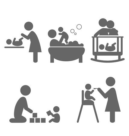 paternity: Family and baby flat icons isolated on white background