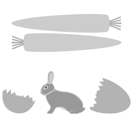 Grey rabbit hatched from an egg and carrot frames on white background photo