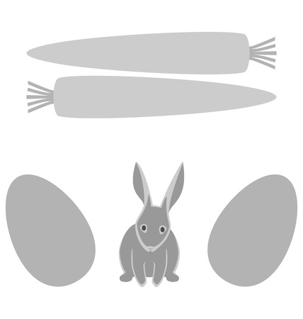 Grey rabbit with eggs and carrot frames isolated on white background photo