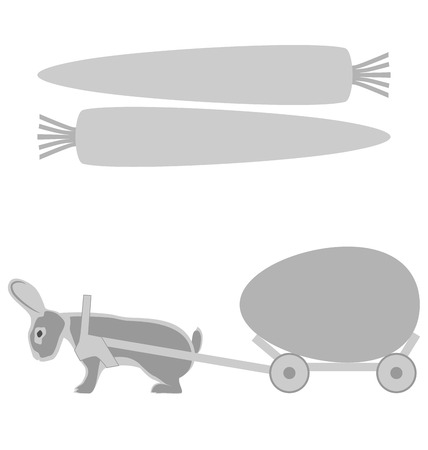 Grey rabbit pulls a cart with egg and carrot frames on white background photo