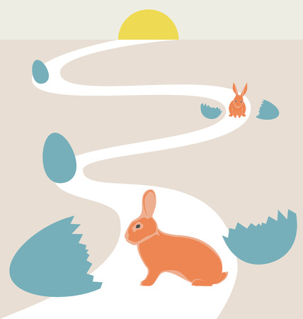 Way of rabbits hatched from the egg to the sun in vintage colors photo