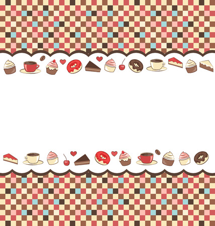 Sweets frame on mosaic background photo