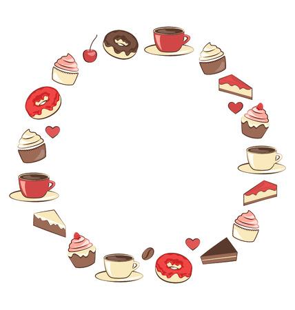 Sweets frame isolated on white background photo