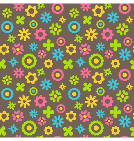 Bright fun abstract seamless pattern with flowers