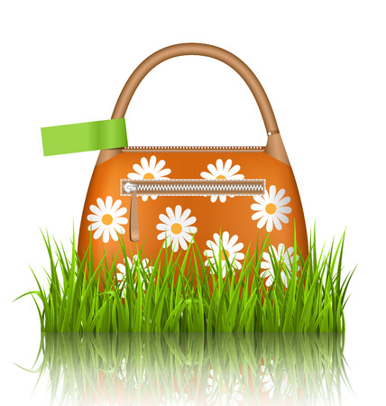 grass lawn: Orange woman spring bag with chamomiles flowers and green sticker in grass lawn with reflection on white background