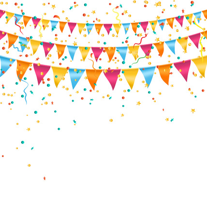 greet card: Multicolored bright buntings garlands with confetti isolated on white background