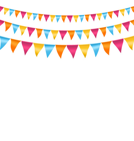 Multicolored bright buntings garlands isolated on white background Çizim