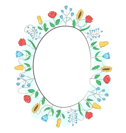 field of flowers: Spring frame with field flowers isolated on white background