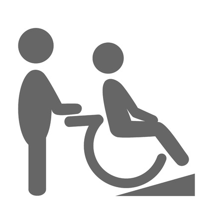 ramp: Disability man with helpmate pictogram flat icon isolated on white background