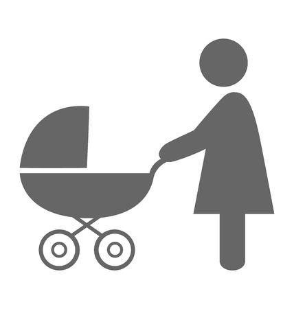 Woman with pram pictogram flat icon isolated on white background Çizim