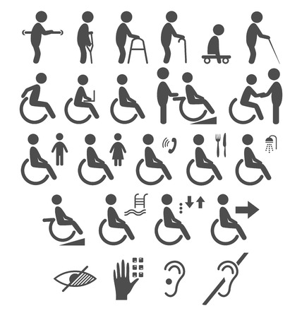 ramp: Set of disability people pictograms flat icons isolated on white background