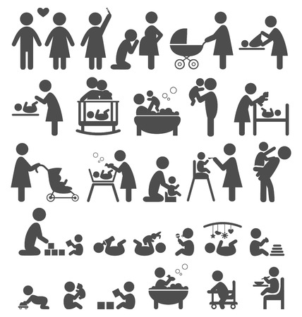 pregnant mom: Set of family and baby pictograms flat icons isolated on white background Illustration