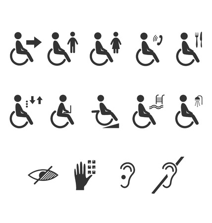 Disability people information flat icons pictograms isolated on white background Vector