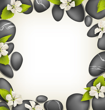 spring balance: Spa stones with cherry white flowers like frame on beige background Illustration
