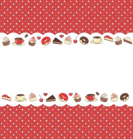 ドットの赤の背景にお菓子フレーム  イラスト・ベクター素材