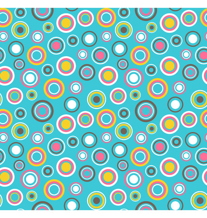 fun: Bright fun abstract seamless pattern with multicolored circles isolated on blue background
