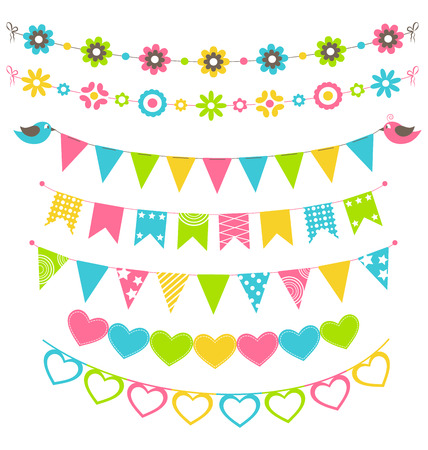 Set of multicolored flat buntings garlands flags with ornament isolated on white background