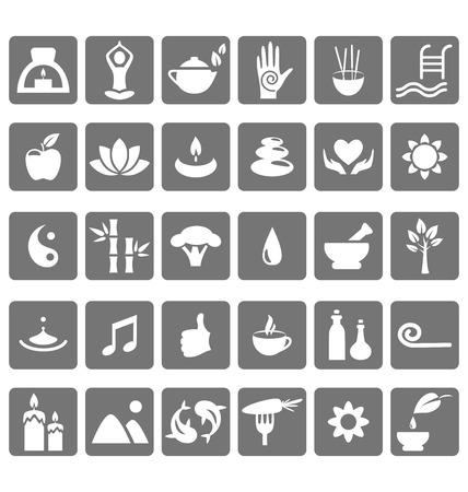 piedras zen: Spa yoga zen iconos planos aislados sobre fondo blanco