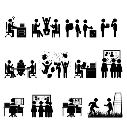 briefing: Set of flat office internal communications icons isolated on white background