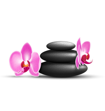 spring balance: Stack of spa stones with orchid pink flowers isolated on white background Stock Photo