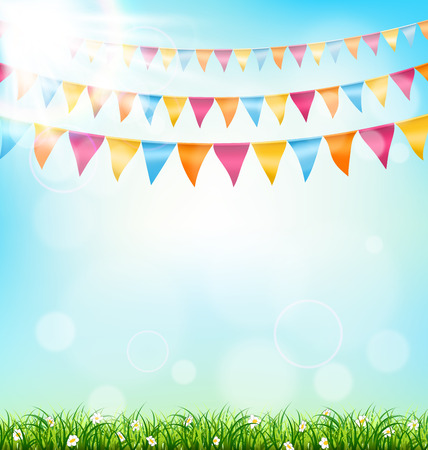 greet card: Celebration background with buntings grass and sunlight on sky background