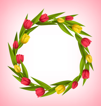 greet card: Circle frame with tulips red and yellow flowers on pink background Stock Photo