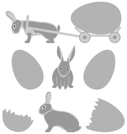 Grey rabbits with eggs isolated on white background photo
