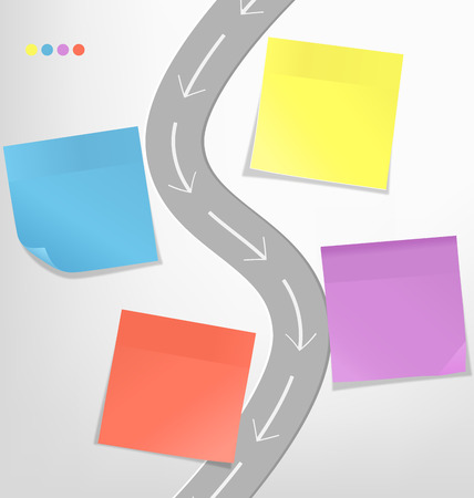 grayscale background: Infographic elements paper sticker with road on grayscale background