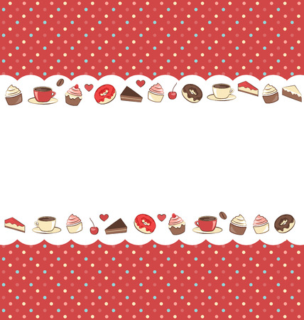 Sweets frame on red background in dots photo